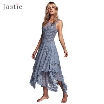 Boho People hippie Style Asymmetrical embroidery Sheer lace dresses double layered ruffled trimming low V-back (No lining)