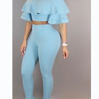 Light Blue Ruffle Off Shoulder High Waist Two-Piece Party Summer Long Jumpsuit