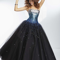Mori Lee 95128 - Black, Turquoise Strapless Beaded Prom Dresses Online