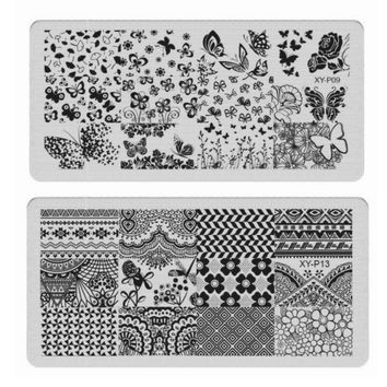16Pcs New Flower Strip Wavy Skull Pattern Nail Art Templates  Stamp Polish 6cmX12cm Set Stainless DLY Nail Stamping Plates JW052