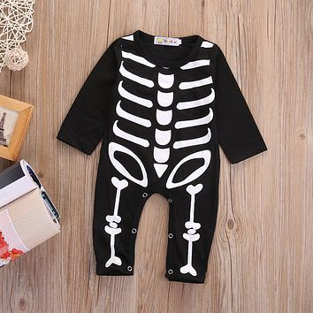 Halloween Newborn Baby Boy Girl Skeleton Rompers Long Sleeve Jumpsuit Clothes Outfit Costume cosplay