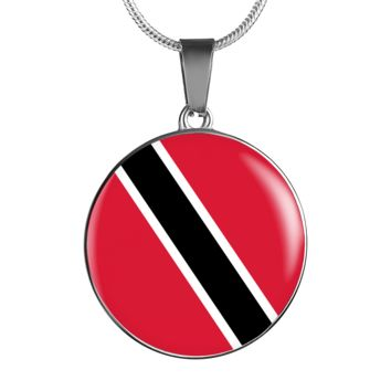 Trinidad and Tobago Flag Pendant Necklace or Bracelet Gold/Silver with Custom Engraving