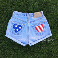 High Waisted American Flag Heart Pocket Jean Shorts