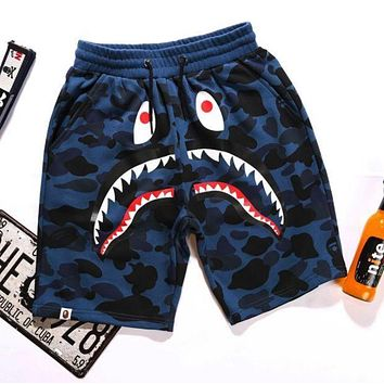 BAPE SHARK Fashion Shark mouth print Camouflage green blue purple shorts pants F Blue