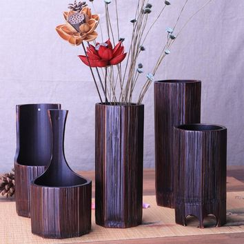 Wedding decoration flower vases bamboo Flower pots  stands for living room wall Home decor hanging vase vintage container gift