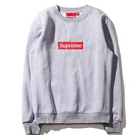 "Gray ""Supreme"" Couple Casual Letter Print Velvet Long Sleeve Pullover Sweatshirt Top Sweater"