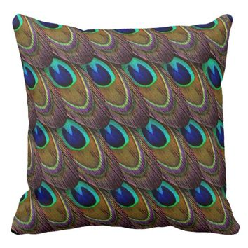 Vibrant Colorful Exotic Peacock Feather Throw Pillow
