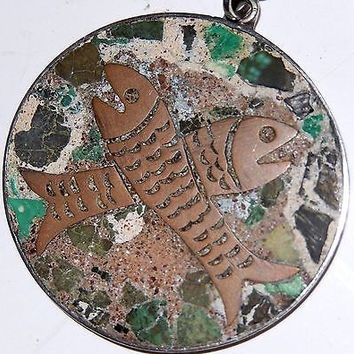 Taxco Mexico Sterling Silver Fish Pisces Pendant Inlaid Stone Copper Signed VTG
