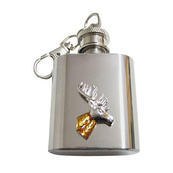 Colored Stag Deer Head 1 Oz. Stainless Steel Key Chain Flask