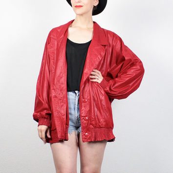 Vintage 80s Jacket Red Wet Look Bomber Jacket 1980s Windbreaker Jacket Deep V Neck New Wave Faux Leather Oversized Coat XL XXL Extra Large