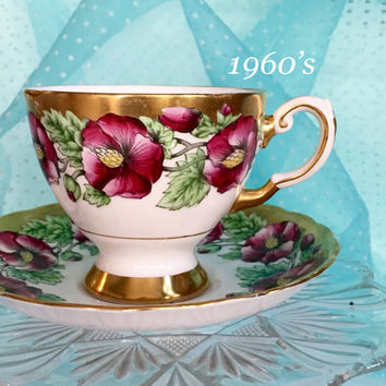 Antique 1960's Tea Cup, Tuscan China, Floral Teacup, Antique Gold Vintage Tea Cup and Saucer