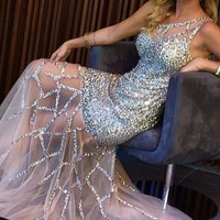 Sexy Crystal Long Formal Evening Dress Mermaid Celebrity Pageant Prom Party Gown