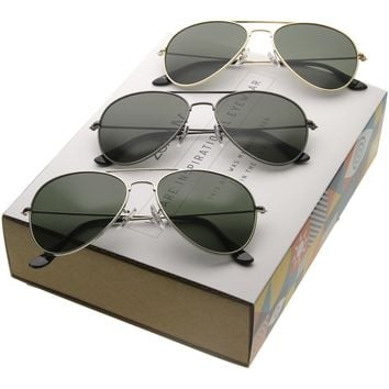 Retro Iconic Classic Tear Drop Metal Aviator Sunglasses C777 [Promo Box]