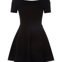 Teens Black Bardot Neck Skater Dress