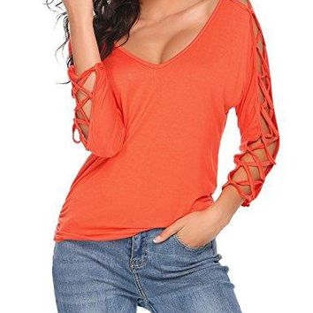 Zeagoo Women V Neck Cut Out Shirts 3/4 Sleeve Cold Shoulder Open Back Blouse Tops