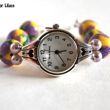 Purple Lilac Flower Beaded Watch Handmade Yellow Beads Polymer Womens