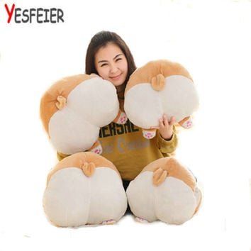 38-42cm Cute New Style Corgi dog arse Plush Toys Winter hand warm big fat arse cloth doll stuffed plush kids toys baby pillow