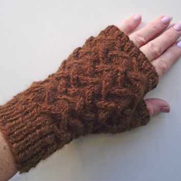Alpaca Wristwarmers, Brown Fingerless Gloves, Handspun Brown Alpaca Mitts, Artisan Handspun Gloves, Brown Alpaca Gauntlets, Pure Alpaca