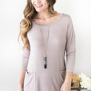 Blakely Taupe Tunic With Pockets