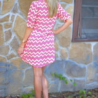 Chevron Cutie Dress: Pink/Off White | Hope's