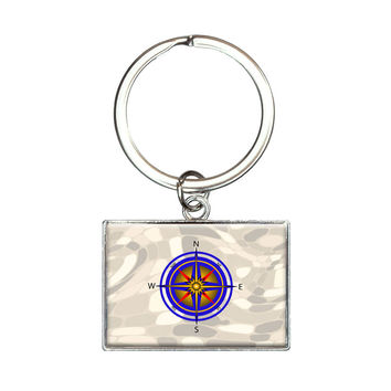 Compass Nautical North South East West Rectangle Keychain
