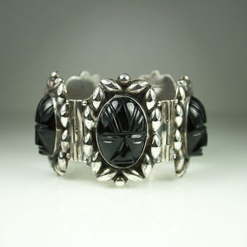 Vintage Bracelet Mexican Sterling Silver Onyx Tribal Face Mask Jewelry