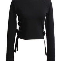 Black Eyelet Detail Lace Up Side Long Sleeve Cropped Sweatshirt