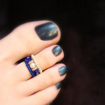 Stacking Toe Rings - Dark Blue - Silver - Sapphire Crystal - Stretch Bead Toe Ring