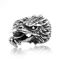 Punk Men's Titanium Eagle Head Ring