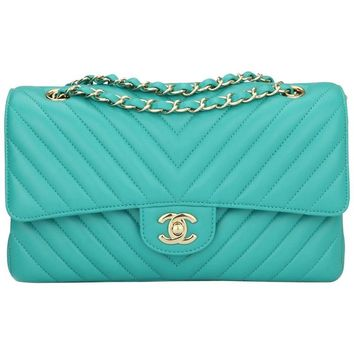 CHANEL Double Flap M/L Chevron Turquoise Lambskin Champagne Gold Hardware 2017