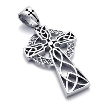 SHIP BY USPS: KONOV Stainless Steel Irish Knot Celtic Cross Mens Womens Necklace Pendant 24 inch Chain