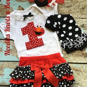 Girls Elmo Birthday Outfit, Baby Girls 1st Birthday Elmo Outfit, Bloomer Outfit, Elmo Birthday