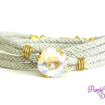 PEONY Wire wrapped Kumihimo Wrap Bracelet, Braided Wrap Bracelet with Swarovski Crystal Stone - Beige/Crystal Moonlight