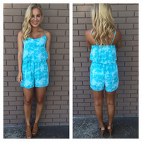 Splash of Spring Romper - AQUA