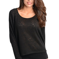 Raglan Knit Long Sleeve Top