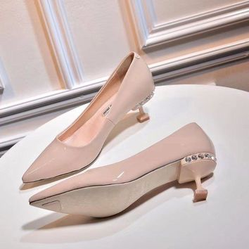 Prada Miu Miu Patent Leather Pumps With Jewels - Best Deal Online