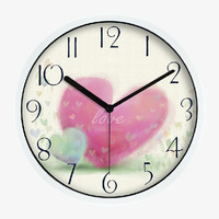 Art Wall Clock With Love  Hearts In White