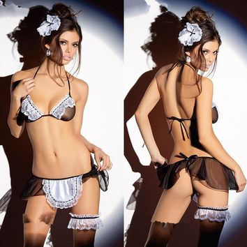 Sexy Cute Hot Deal On Sale Uniform Transparent Lace Set Exotic Lingerie [6595763907]