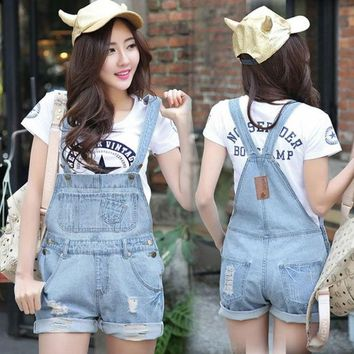 ONETOW Top Quality Women Girls Washed Jeans Denim Casual Light Blue Jeans Shorts Pants = 1929895428