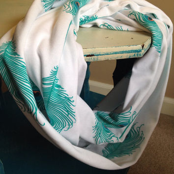 Lightweight Infinity Scarf / White with Teal Peacock Feathers