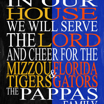Customized Name Mizzou Tigers & Florida Gators NCAA personalized family print poster Christian gift sports wall art - multiple sizes