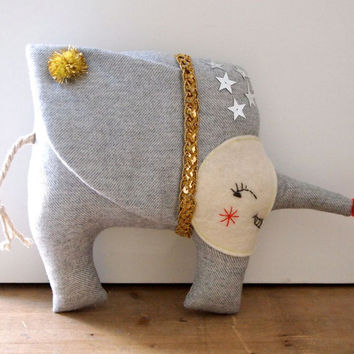 NEW YEAR SALE Elephant doll linen soft sculpture art doll circus Nellyphont