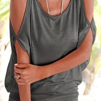 Grey Cold Shoulder Scoop Neck Tie Back Top