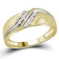10kt Yellow Gold Mens Round Diamond Double Row Two-tone Wedding Band Ring 1/8 Cttw 26571