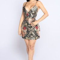When We Touch Embroidered Dress - Black