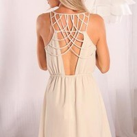 Cream Sleeveless Dress with Cutout Strappy Open Back