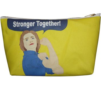 Hillary Clinton Stronger Together Makeup Bag – Illustrated and Handmade in the USA
