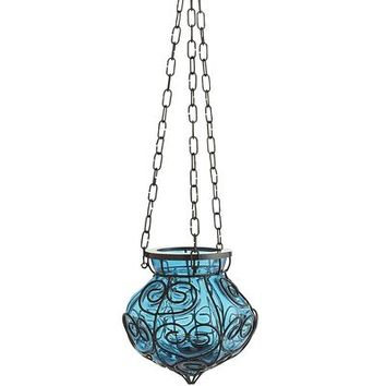 Caged Hanging Lantern - Blue