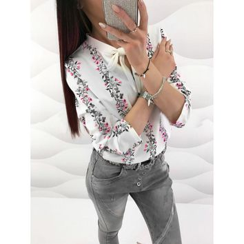 Spring Summer Woman Tops Shirt 2018 Floral Print Tunic Tops Long Sleeve Bow Tie Neck Office Blouse and Shirts
