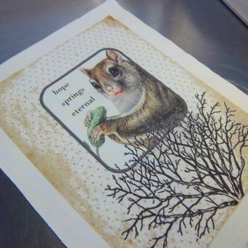 Squirrel quilt square cotton quilt block hope springs eternal quote sewing gift primitive art journal supply woodland wall art fabric panel